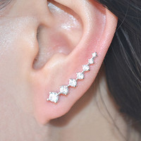 String Of Shines Rhinestone Ear Cuffs (Long Pin)