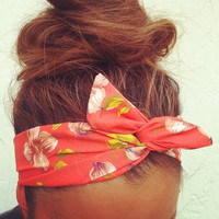 Orange Floral Dolly Bow Headband by Eindre on Etsy