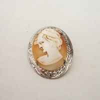 Vintage Ward Brothers Sterling Silver Carved Shell Cameo Brooch, Sterling Silver Cameo Brooch