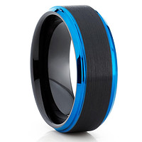 Blue Tungsten Wedding Band - Black Ring - Men's Tungsten Band - Brush