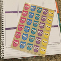 FREE SHIPPING Cute colorful owl stickers for Erin Condren Life Planner/Plum Paper Planner - set of 30