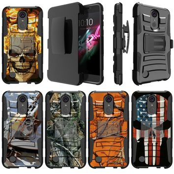 High Impact Hybrid Layer Belt-Clip Kickstand Combo Case Compatible with [ K20V |  K20 + | K20 Plus | K10 Power 2017] Phone Case