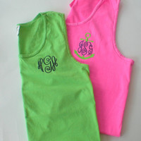 Monogram Tank Top Comfort Colors Beach Wear Swim Suit Cover Sorority Rush Custom Embroidery