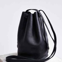 BAGGU Leather Drawstring Bucket Bag-