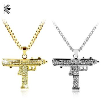 Fashion Golden Silver Color Uzi Gun Pendant Necklace Men Alloy Full Bling Submachine Gun 24inch long cuban link chain Women Gift