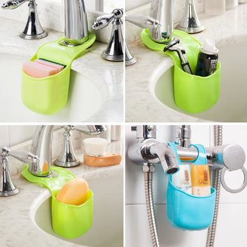 Kitchen Sink Sponge Holder Bathroom Hanging Strainer Organizer Storage Box Rack