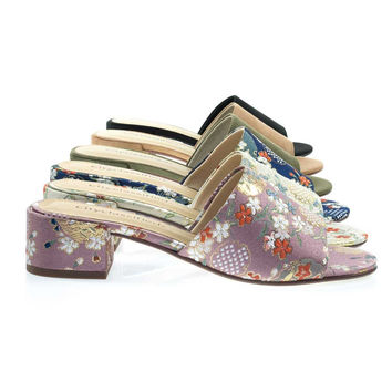 Watson Mauve Ginza By City Classified, Low Block Heel Slide Mule Sandal, Solid & Floral Embroidered