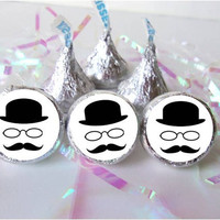 90 Bowler Hat and Mustache Party Hipster Party Decorations Black White Favors fits Kisses