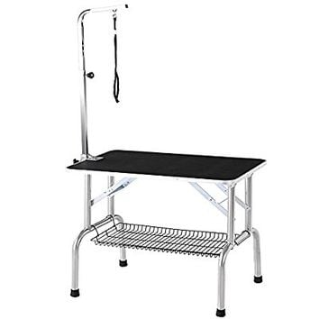 "iKayaa Large Heavy-Duty Foldable Dog Grooming Table 36"" With Arm & Noose & Shelf for Pets"