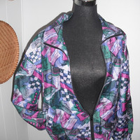 Vintage Silk  Abstract art Bomber Windbreaker Jacket ~  Hipster Indie Woman's Medium M