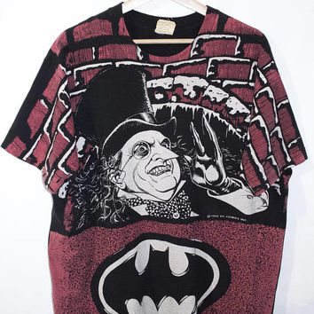 1992 BATMAN RETURNS  all over print shirt - vintage 90s - the penguin - tim burton movie - stanley desantis - dc comics