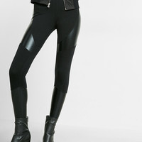 High Waisted Ponte Knit Pieced Legging