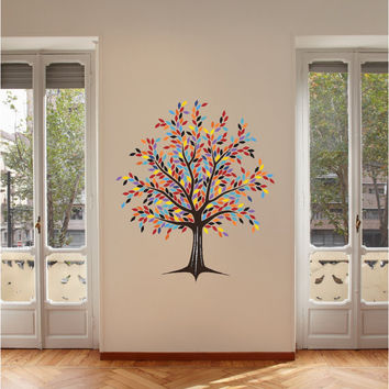 Tree with Technicolor Leaves Vinyl Wall Decal