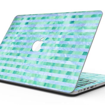 Blue and Green Watercolor Stripes - MacBook Pro with Retina Display Full-Coverage Skin Kit
