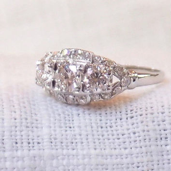 Art Deco Platinum Diamond Engagement Ring 1.36 Carat