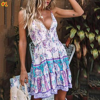 Women's sexy suspenders lace stitching print dress