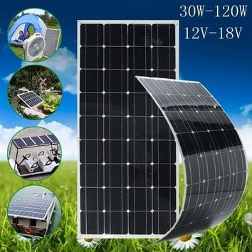 20W/50W/80W/100W/120W 12V/18V Solar Energy Monocrystalline Solar Cell Semi-flexible Solar Panel Module Battery Charger Water Res