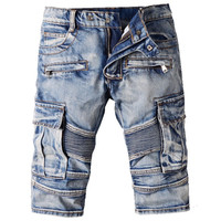 Denim Stretch Biker Jean Shorts