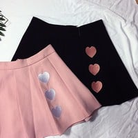 Lovely Iridescent Sweet Heart Embroidered Pleated High Waist Skirt