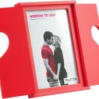 Present Time 4 by 6-Inch Wanted Window to Love Photo Frame, Red