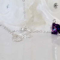 Amethyst CZ Sterling Necklace. February Birthstone Necklace. Amethyst CZ Solitaire Necklace.  Christmas Gift. Birthday Gift.