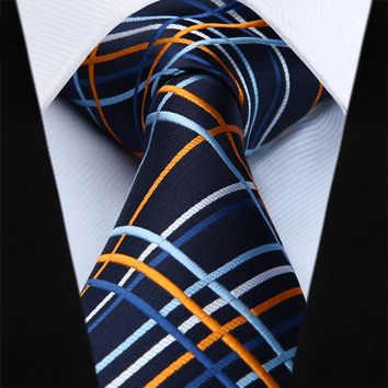 Navy Blue Yellow Plaid Necktie Pocket Square