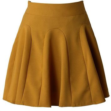 Mustard High Waisted Skater Skirt