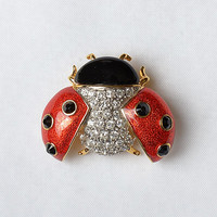 Vintage 80s Butler Ladybug Brooch 1980s Signed Fifth Avenue Collection Red + Black Enamel & Crystals Gold Tone Lady Bug Pin Costume Jewelry