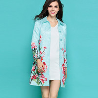 Light Blue Floral Printed Coat