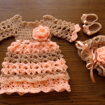 Crochet pattern 3 PATTERNS in one 4 SIZES Baby Dress Hat Shoes Baby Dress Crochet Baby Dress Pattern Baby Dress Baby clothes Newborn dress