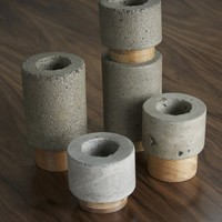 Dewi concrete votive candle holder set