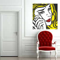 "Pop Art inspired by Roy Lichtenstein ""Crying Girl"" vinyl wall decal"