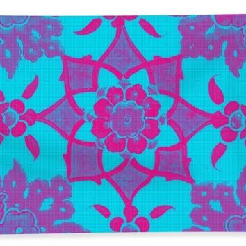 An Ottoman Iznik Style Floral Design Pottery Polychrome, By Adam Asar, No 13e - Bath Towel