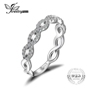 JewelryPalace Infinity Love 925 Sterling Silver Cubic Zirconia Wedding Band Ring Fine Jewelry Engagement Gift Lovers on Sale