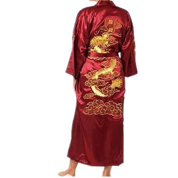 Hot Sale Burgundy Chinese Men Silk Satin Robe Novelty Traditional Embroidery Dragon Kimono Yukata Bath Gown Size M L XL XXL XXXL