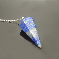 1PC Natural Lapis Lazuli Facet Body Point Pendulum Pendant Healing Crystal Point Pendulum Gift For Him