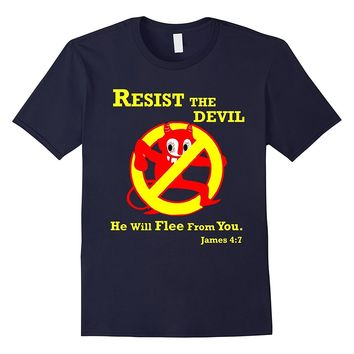 Resist the Devil Bible Verse Funny Christian T Shirt YTV