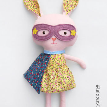 Easter bunny, a superhero rabbit plushie an ideal gift for kids, which can be personalized
