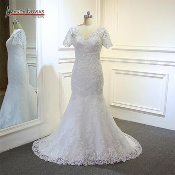 Factory Direct Sale Short Sleeve Lace Appliqued Mermaid Wedding Dress on Promotion