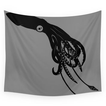 Society6 Architeuthis (Giant Squid) Vector Art Wall Tapestry
