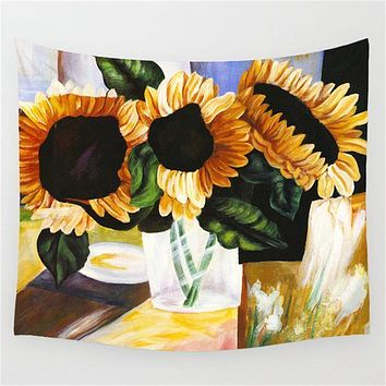 Sunflower Impressionism Tapestry