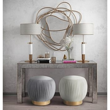 Tulip Grey Velvet Ottoman | Overstock.com Shopping - The Best Deals on Ottomans