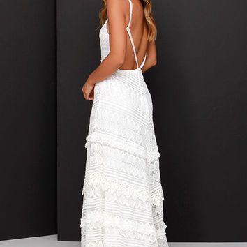 Beneath the Garden Arbor Ivory Lace Maxi Dress