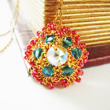 Gold Crochet Lace Crystal Pendant JewelryDenim Blue by sukran