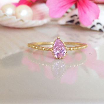 20% off- SALE!! Rose Quartz Ring - October Birthstone - Tiny Ring - Gold Ring - Slim Stack Ring - Dainty Ring - Teardrop Ring - Pink Ring