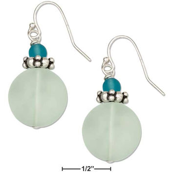 STERLING SILVER LIGHT BLUE GREEN ROUND SEA GLASS EARRINGS WITH LIGHT BLUE BEAD