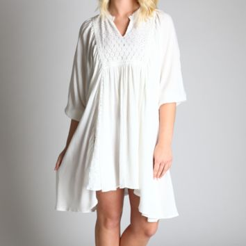 Umgee Off White Lace Peasant Babydoll Dress