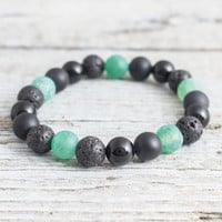 Black onyx, matte black onyx, crackled green agate & lava stone beaded stretchy bracelet, yoga bracelet, mens bracelet, womens bracelet