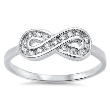 925 Sterling Silver CZ Channel Infinity Ring 7MM