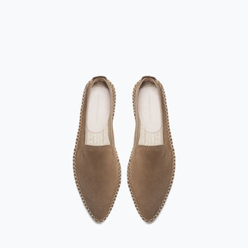 Pointed leather espadrilles